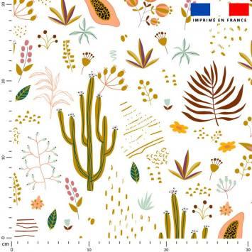 Cactus et fruit de la passion - Fond écru