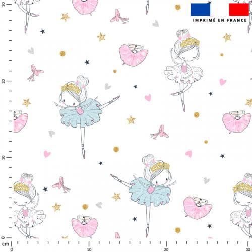 Danseuse étoile gold rose et bleue - Fond blanc