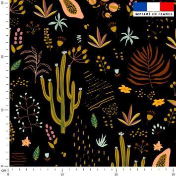 Cactus et fruit de la passion - Fond noir