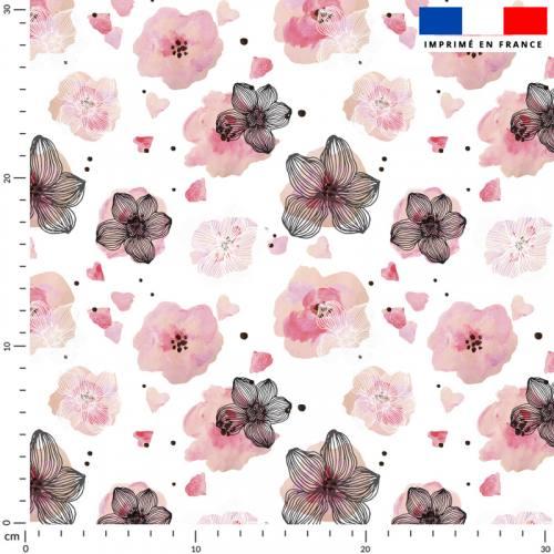 Fleur rose effet aquarelle - Fond écru