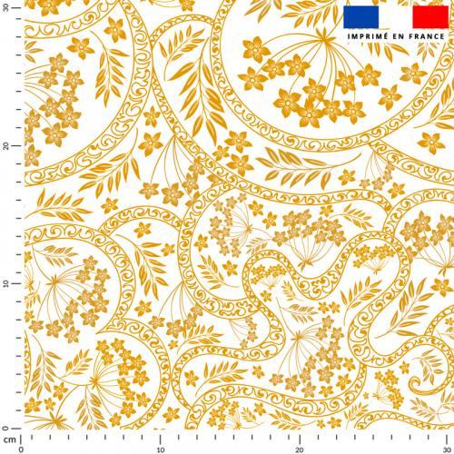 Fresque fleurie jaune - Fond écru