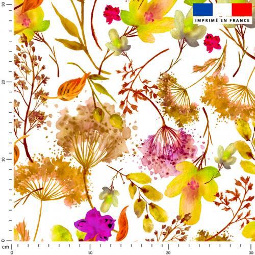 Fleur jaune et violette effet aquarelle - Fond écru