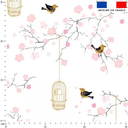 Fleur de cerisier rose et cage à oiseaux - Fond écru
