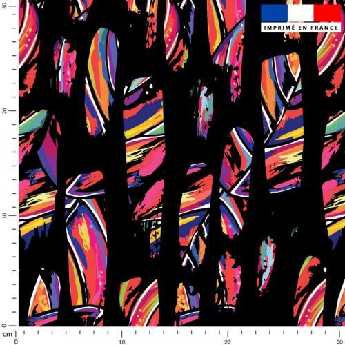 Jungle multicolore effet hachuré - Fond noir