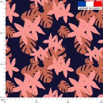 Flore tropicale orange et rose - Fond bleu marine