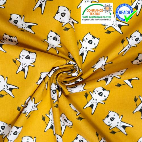 coupon - Coupon 77cm - Coton ocre motif chat blanc wizy