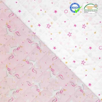 coupon - Coupon 40cm - Tissu matelassé enfant réversible motif licorne celo