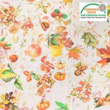Tissu polycoton écrue imprimée feuilles d'automne