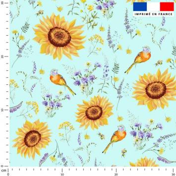 Tournesol jaune soleil - Fond bleu azurin