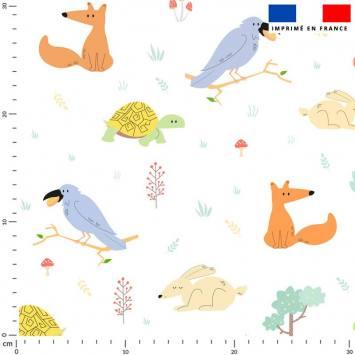 Tortue renard lapin et oiseau - Fond blanc