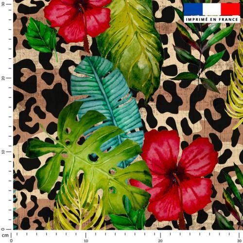 Jungle léopard - Fond beige