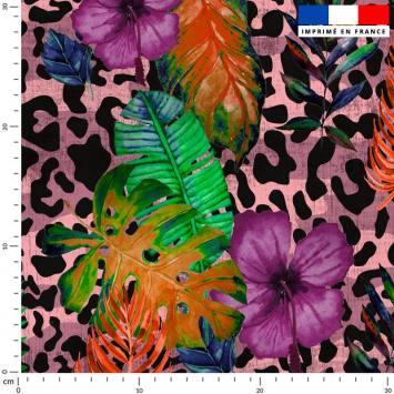 Jungle léopard - Fond rose