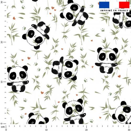 Panda et bambou vert - Fond blanc