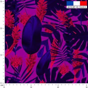 Feuilles tropicales bleues - Fond parme