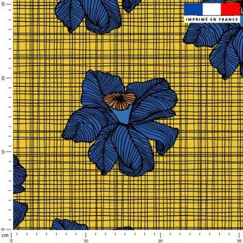 Wax fleur bleue - Fond jaune