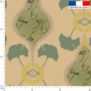 Grand ginkgo vert tilleul - Fond beige