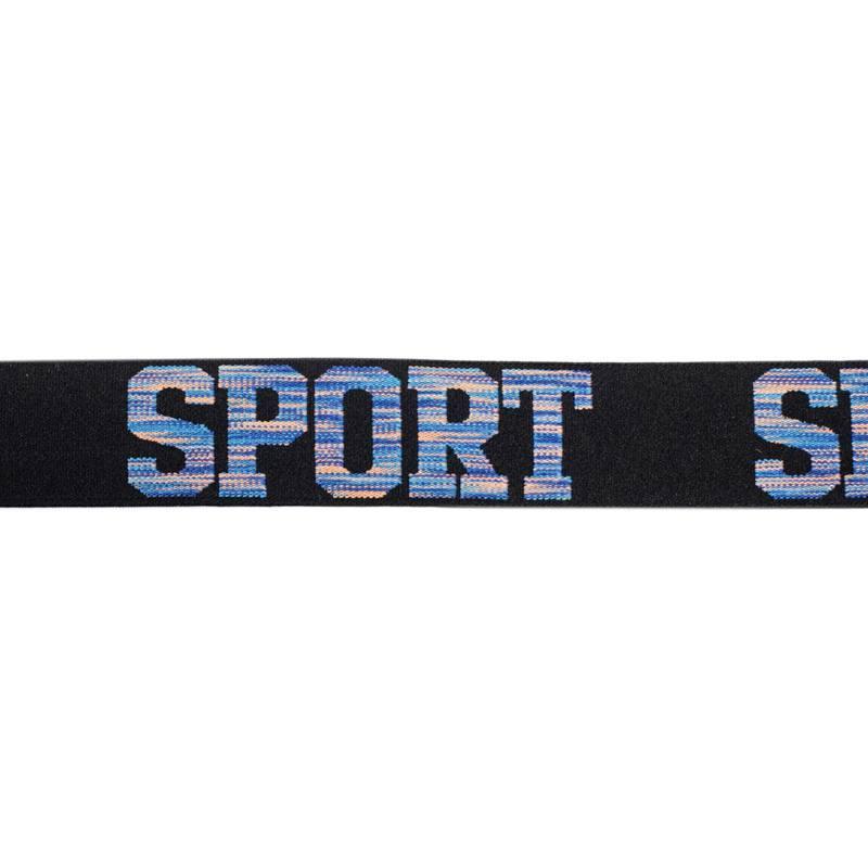Élastique noir 32mm motif sport bleu
