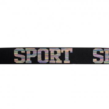 Élastique noir 32mm motif sport multicolore