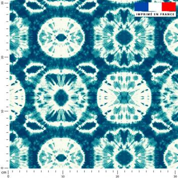 Shibori bleu - Fond écru