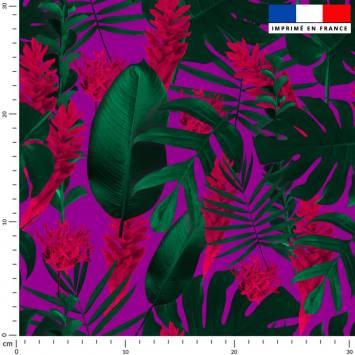 Feuilles tropicales vertes - Fond parme