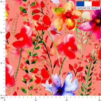 Fleurs rouges et bleues effet peinture - Fond corail