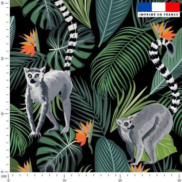 Jungle et lémurien - Fond noir