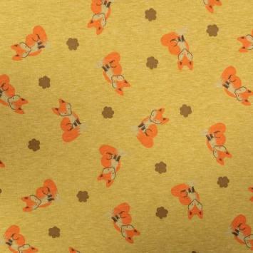 Tissu molleton ocre chiné imprimé renard réversible