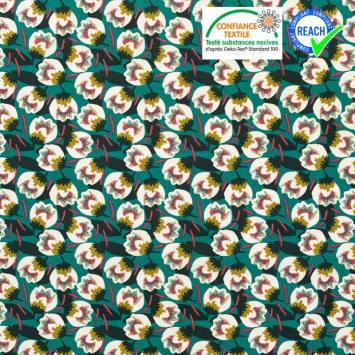 coupon - Coupon 55cm - Coton vert émeraude motif fleur blanche dimeo Oeko-tex