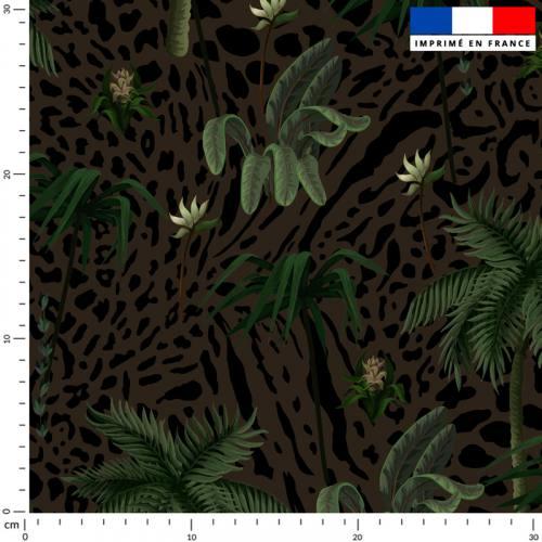 Palmier et léopard - Fond kaki