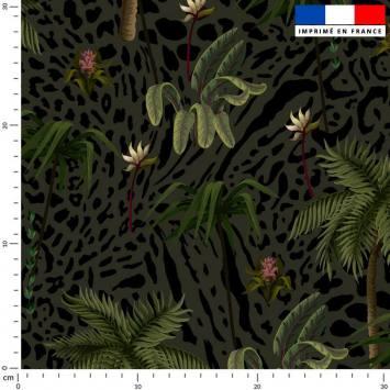 Palmier et léopard - Fond vert