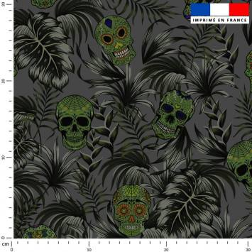 Jungle tête de mort verte - Fond gris