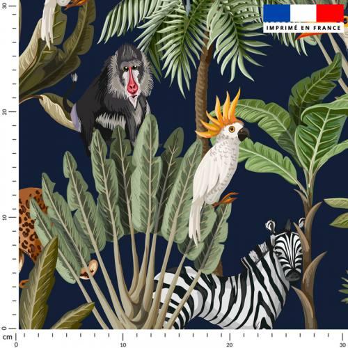 Jungle et animaux - Fond bleu marine