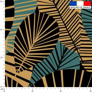 Feuilles art déco bleu canard et or - Fond noir