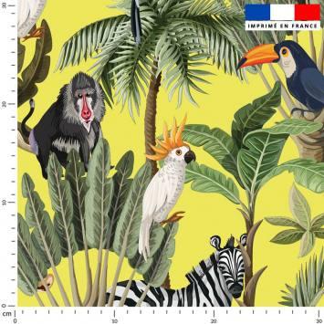 Jungle et animaux - Fond jaune