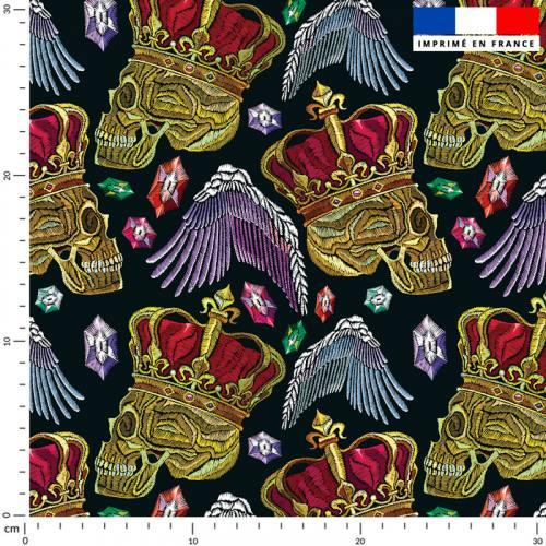 Tête de mort royale effet brodé - Fond bleu nuit