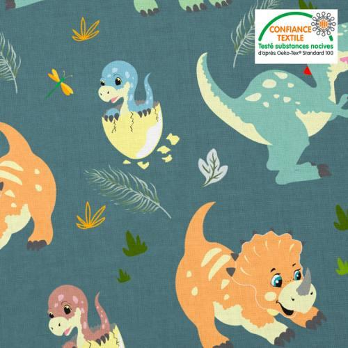 Coton bleu motif bébé dinosaure Oeko-tex