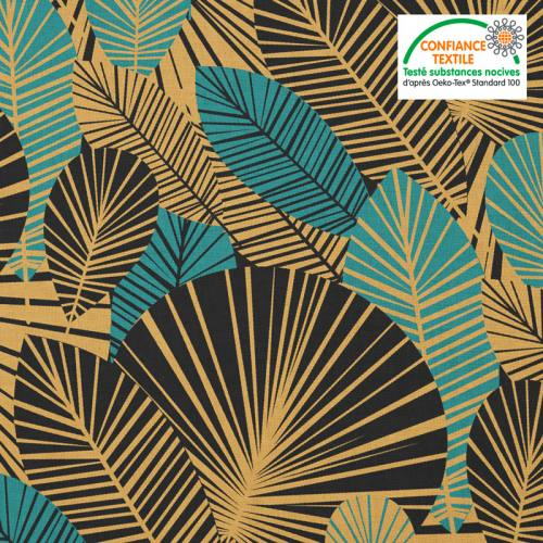Coton noir motif feuilles art déco bleu canard et or Oeko-tex