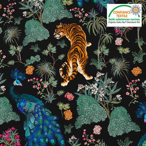 Coton noir motif tiger asiatique Oeko-tex