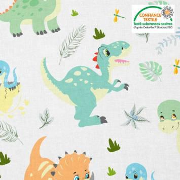 Coton blanc motif bébé dinosaure Oeko-tex