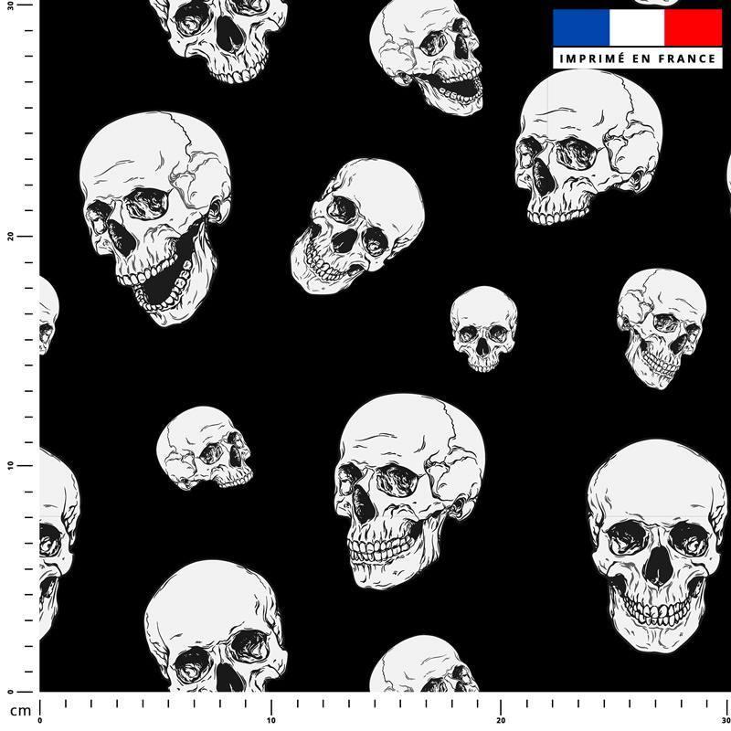Tête de mort blanche - Fond noir