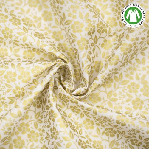 Coton bio naturel imprimé fleurs dorées