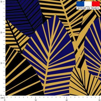 Feuilles art déco bleu roi et or - Fond noir