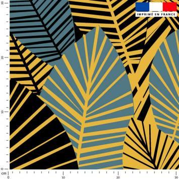 Feuilles art déco bleu et or - Fond noir