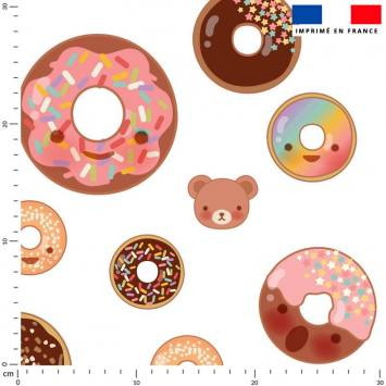 Donuts colorés - Fond écru
