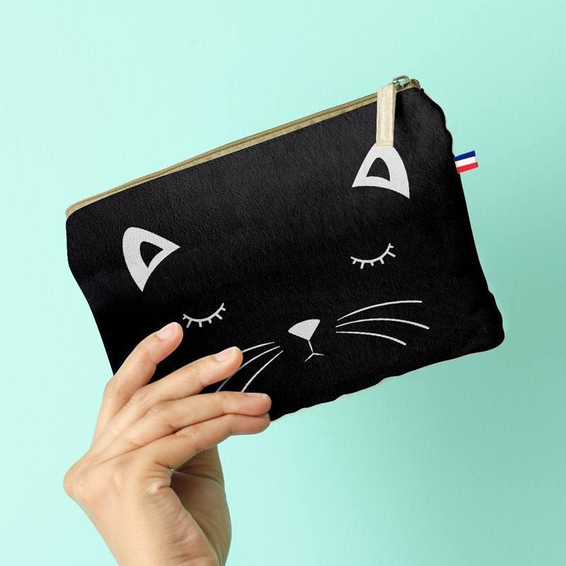 Kit pochette noir motif chat
