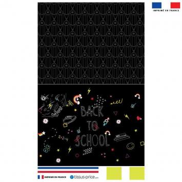 Kit pochette noir motif back to school bleu