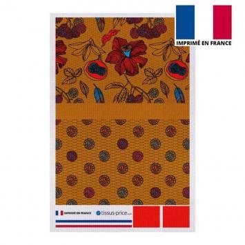 Kit pochette jaune miel motif wax fleur rouge