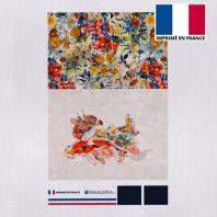 Kit pochette écru motif bouquet de fleurs champêtres