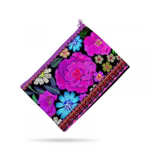 Kit pochette multicolore motif grosse fleur rose effet brodé