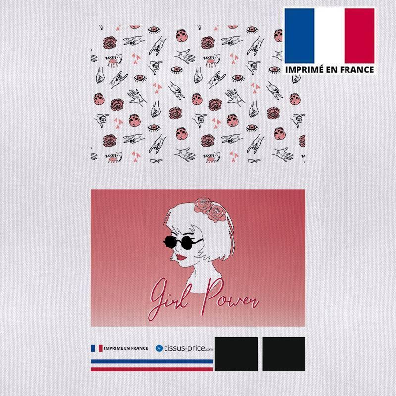 Kit pochette rose motif girl power